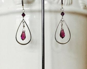 Teardrop Sterling silver Link and Swarovski earrings