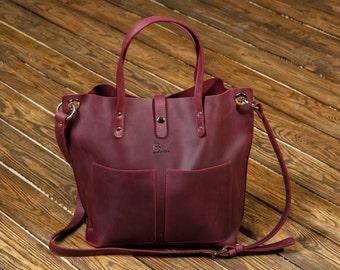Leather handbag Leather tote bag Handmade Tote bag Claret leather tote Claret shopper Leather purse Shoulder bag Large leather tote