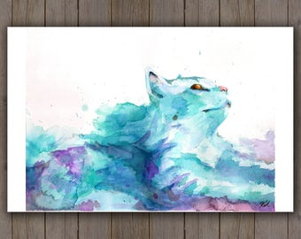 Watercolour Art Print - Blue Cloud Cat / Pet Portrait / Fantasy Splatter Handpainted Watercolor Painting / Kitten Kitty Cat Lover Gift