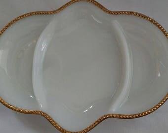 Vintage 1950s Anchor Hocking Fire King Milk Glass 3 Part Relish Dish - Fire King Milk Glass Tray Gold Trim