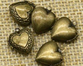 10 pcs Antique BRASS Filigree Locket Small Heart in Heart Pendant Charm Dangle - 12x11mm - Brass Locket Charm -Ship California USA - A3