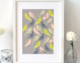 A4 Bird's out for a stroll art print / Wall art / Bird lover gift / UK printed / Free uk shipping
