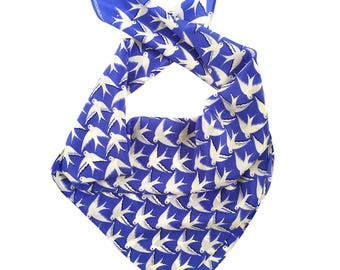 Royal Blue Birds in flight printed Silk Scarf / Birthday gift / For the bird lover
