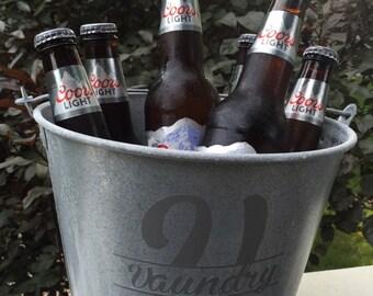 Metal bucket-Galvanized  bucket- farmhouse decor- Fixer upper style -personalized bucket