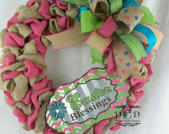 Burlap Easter Wreath, Easter Bow Wreath, Easter Blessing Wreath, Spring Wreath, Door Decor Wreath, Burlap Bow Wreath, Easter Door Wreath