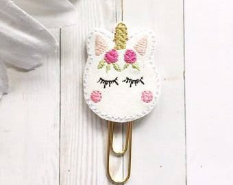 Rosy Cheeked Glitter Macaron Unicorn Planner Clip - Unicorn Gift - Paper Clip - Bookmark - Party Favors - Planner Accessories - Glam Planner