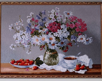Gobelin/Tapestry wall art, Charming summer bouquet tapestry wall art, framed, big size (39,3x27,5 inches)