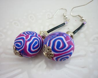 Earrings with violet and fuchsia  polymer bead