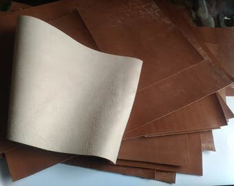 Vintage Appearance Light Brown Leather Offcuts of Soft Kid Goatskin thickness 0,7 - 0,8 mm. 2oz.
