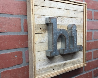 Hi, Metal, Rustic Wall Decor