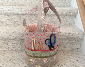 Handmade Quilted Knitting Bag or Crochet
