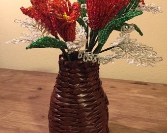 Handmade, 5 beautiful french beaded flowers in decorative basket, red orange flowers with white details, home decor