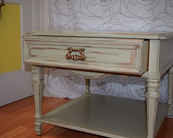 Sale!!*** Moving Inventory!!!***Vintage Side Table; Hand painted, chalk paint, decoupage