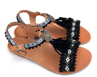 Handmade leather sandals, black Sandals,  Bohemian Style, Greek Sandals, barefoot sandals, Genuine leather shoes, Summer shoes