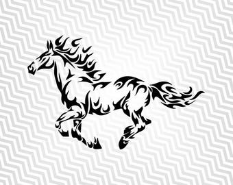 Flaming Horse Svg, Stalllion, Cutout, Vector art, Cricut, Silhouette Cameo, die cut, instant download, Digital Cut, Print Files, Svg Files