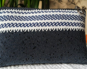 Crochet, cosmetic bag, handbag, purse,Zipper Pouch, bag with beads, Beaded Handba,Travel Purseg, Makeup Bag