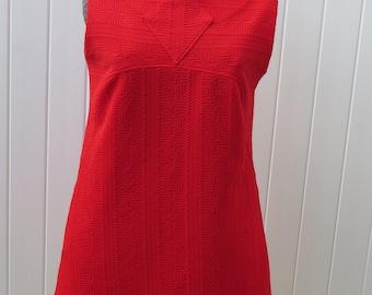 1960s red shift dress/ 1960s sleeveless dress/ vintage dress