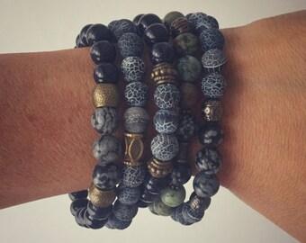 Men's elastic bracelet comfortable with semi-precious stones. Customized bracelet for men. Ebbijoux