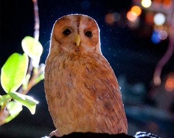 Owl Sculpture , Strix aluco Sculpture Bird , Sculpture  ,  reddish brown version