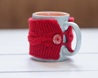 Red mug cozy Coffee cup cozy Cup cozy Coffee cup sleeve Red cup sleeve Red cup cozy Coffee cozy Tea cozy Handmade cozy Holiday gift