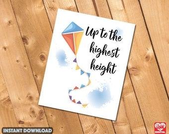 Nursery Print, Digital Print | Nursery Decor, Kite Print, Encouraging Nuersery Print, Printable Wall Art | Instant Download | 8x10| JPG