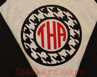 Houndstooth Monogram Alabama Raglan