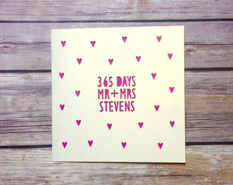 1st Anniversary Card, 365 days, Papercut Card, Personalised Anniversary Card, Mr & Mrs Card, 1st Anniversary Gift, 1 Year Anniversary