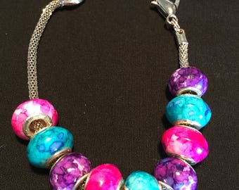 Silver Bracelet with Pink Teal and Purple Beads