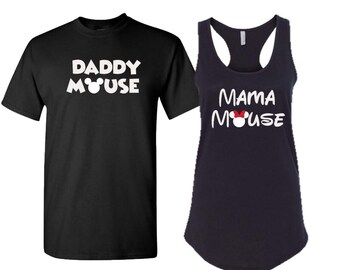 Minnie and Mickey inspired shirts, Disney inspired shirts, Men's T-shirt with ladies Racerback, Daddy mouse and mama mouse shirts