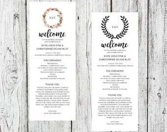 "Custom Wedding Programs 4.25"" x 11"""