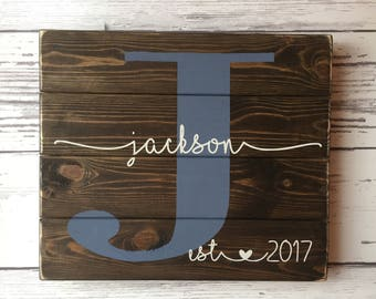 Last Name Sign, Monogram Wood Sign, Established Sign, Family Name Sign, Custom Wedding Gift, Anniversary Gift Wedding Sign, Custom Name Sign