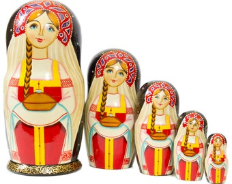 "Russian Nesting Doll - ""Russian Village. Girl with bread."" - MEDIUM SIZE - 5 dolls in 1 - Hand Painted in Russia - Matryoshka Babushka"
