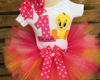 Tweety Bird Birthday Tutu Outfit Dress Set Handmade 1st 2nd 3rd