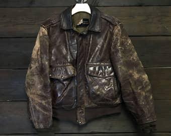 60's 1960's Oakbrook Sportswear Leather Jacket by Sears