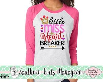 Girls Valentines Day Shirt - Heart Breaker Shirt - Raglan Baseball Valentines Shirt