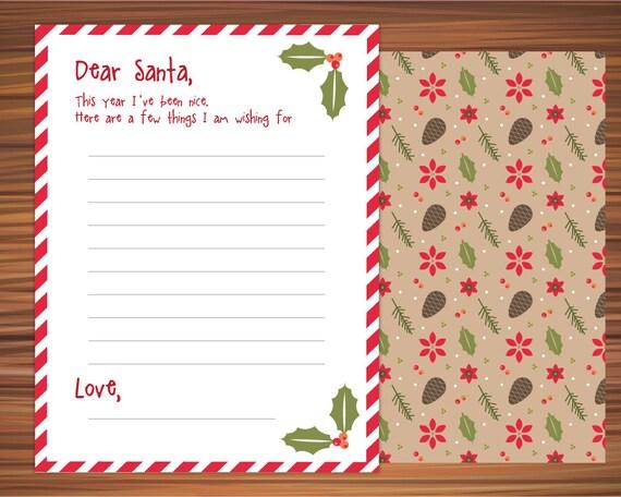 Dear Santa Christmas List Santau0027s Wish List Wish List Printable Christmas  Wish List Wish List Printable Christmas List Christmas Card  Christmas Wish List Paper