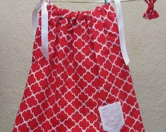 ON SALE***12-18 month Pillowcase dresses and hair accessory (Normally 12.00)