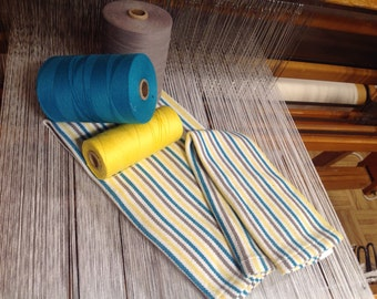 All linen to tableware and table linens woven by hand, turquoise, gray, yellow and white 100/100 cotton