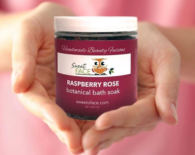 Raspberry Rose Bath Botanical Salt Soak 8oz.