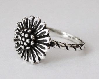 sunflower ring, sterling silver ring, sun flower ring, flower rings, floral ring, boho ring, hippie ring, silver flower, bohemian jewelry
