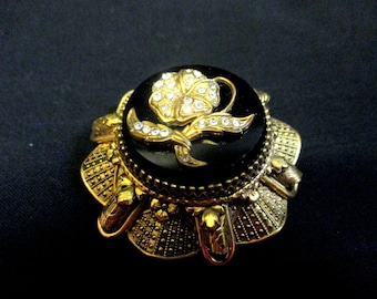 Art Nouveau Black and gold tone Brooch