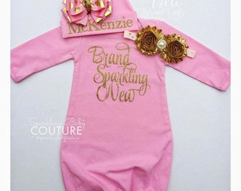 Baby Girl Newborn Hospital Gown Pink and Gold Sparkling Brand New