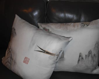 Kravet Couture Throw pillows MARCO POLO printed linen in Mist custom new TWO