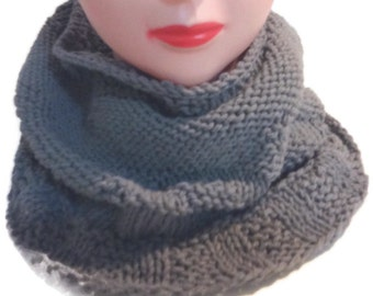 Grey circle scarf, Cotton infinity scarf, Gray scarf, Scarf for her, Patterned circle scarf, Womens fashion, Gift for Her, Women's Scarf