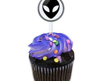 Alien Cake Cupcake Toppers Picks Set