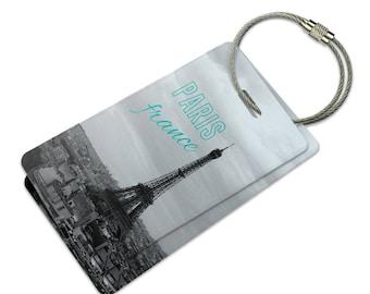 Paris France Eiffel Tower Suitcase Bag Id Luggage Tag Set