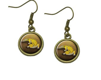 Leopard Gecko Dangle Dangling Drop Earrings