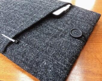 "Harris tweed MacBook 13"" Pro Air cover case, laptop sleeve, dark grey with check"
