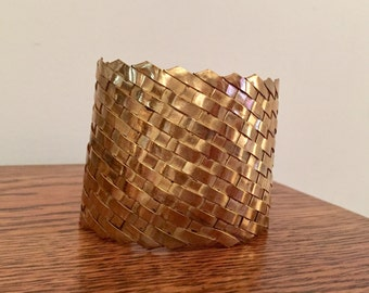 Brass Basketweave Cuff Bracelet