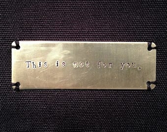 """This is not for you. Brass Plate Black Canvas Zipper Pouch 12"""" x 9"""", Quote Bag, Literary Bag, Mark Z. Danielewski, House of Leaves"""